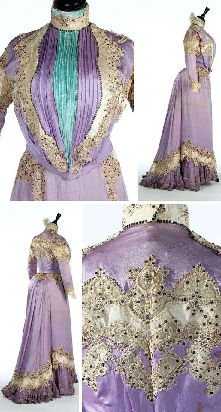 Afternoon dress, Doucet, ca. 1900. Lilac satin. S-form bodice with high neck, infilled with pleated turquoise velvet panel. Sleeves and skirt have ivory velvet strapwork  ecru Guipure lace spangled with sequins. Hem has a goffered chiffon flounce. Kerry Taylor Auctions/ LiveAuctioneers