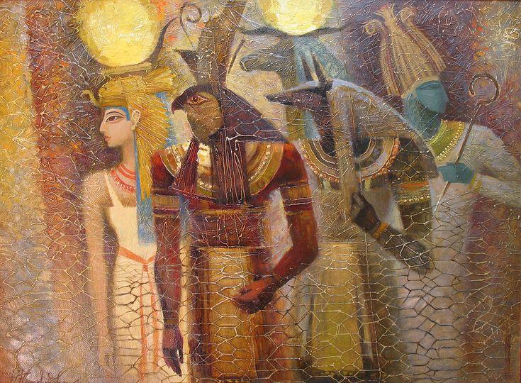 Osiris Painting - Beginnings. Gods Of Ancient Egypt by Valentina Kondrashova