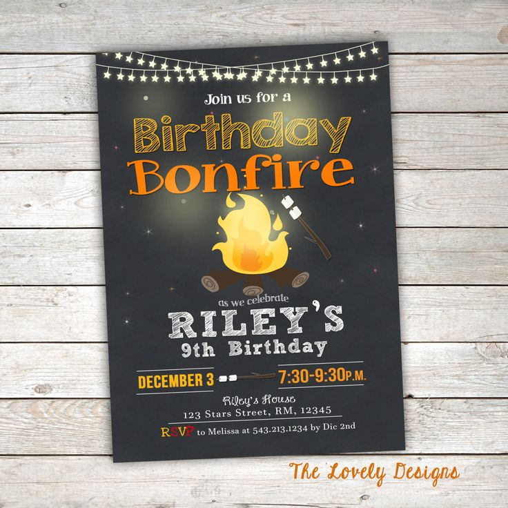 first birthday invitation for my son%0A Bonfire Birthday Invitation  Camp Birthday Invitation  Smores Invitation   Bonfire Party Printable Personalized