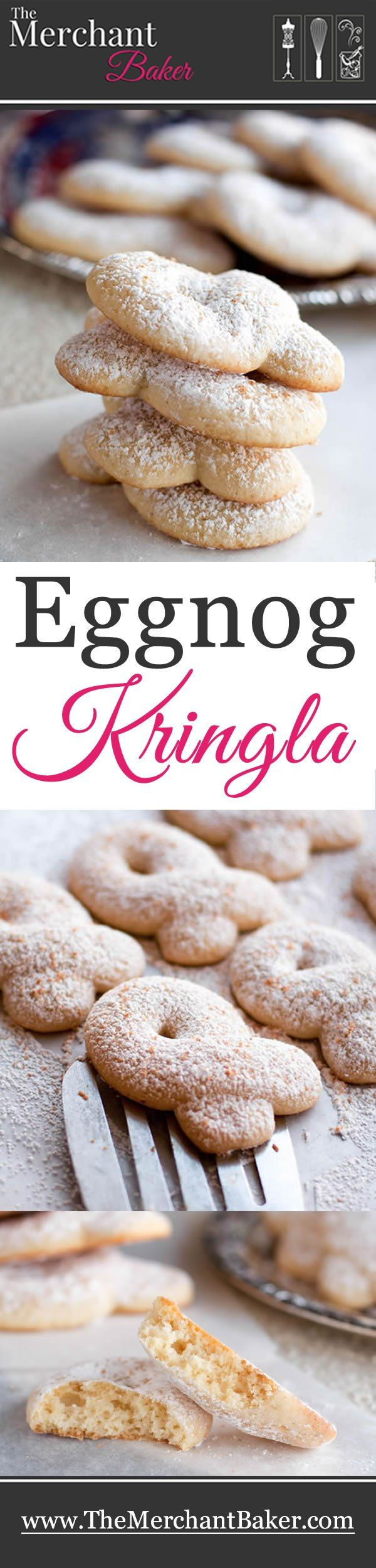 Eggnog Kringla. A light, cakey Scandinavian cookie with a delicate eggnog flavor, topped with dusting of confectioner's sugar and freshly grated nutmeg. #cookies #eggnog #christmas #holiday #soft