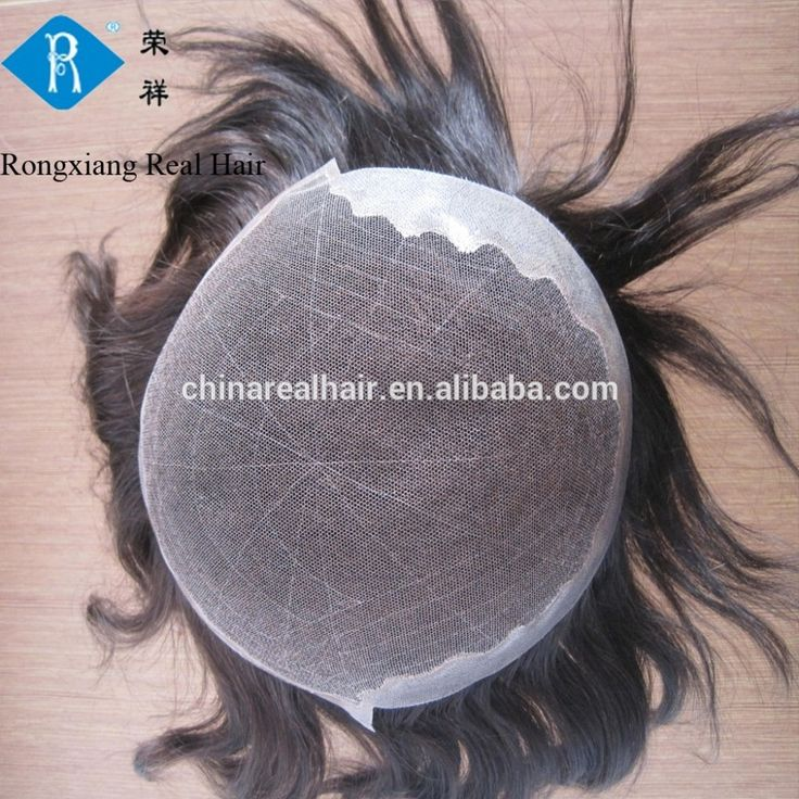 High quality natural human hair toupee for black men
