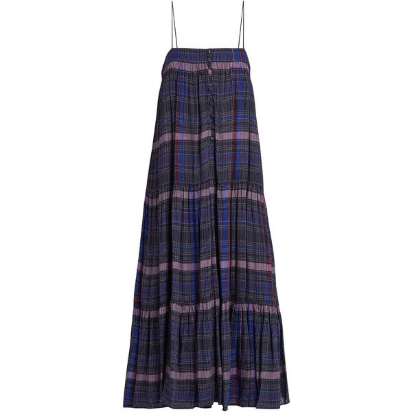 Apiece Apart Tangiers sleeveless checked voile dress ($351) ❤ liked on Polyvore featuring dresses, navy print, bohemian dresses, navy dresses, navy midi dress, navy blue midi dress and boho midi dress
