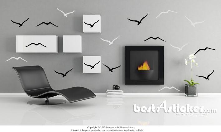 Siyah Beyaz Kuşlar Dekoratif Duvar Sticker  Fiyat: 54 TL