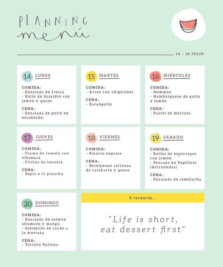 17 mejores im genes sobre plan de comidas viandas en for Menu para comida familiar