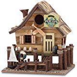 Amazon.com : Fishing Lodge Themed Country Cabin House Wooden Wild Bird Feeder Tree Hanging Yard Decor : Patio, Lawn & Garden