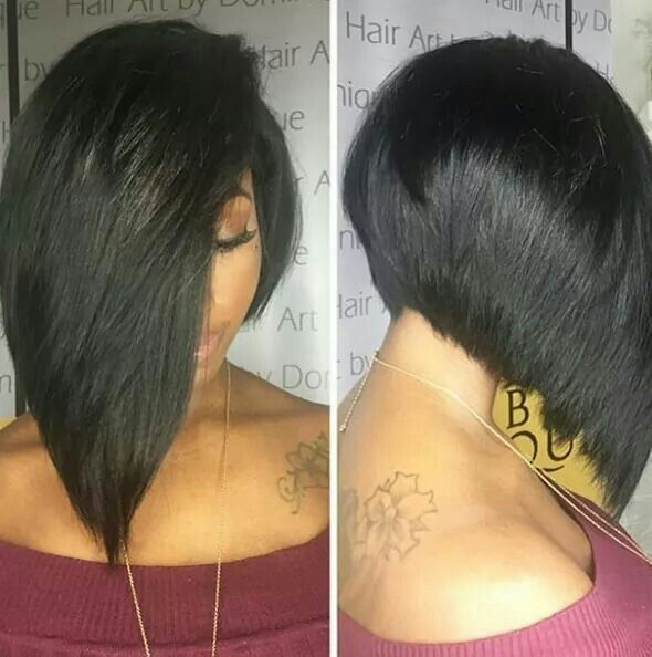 Triangular one length haircut above the shoulders. Use smoothing line for smoother results.