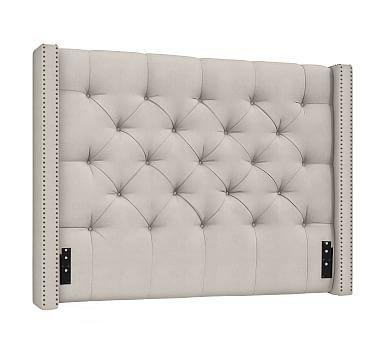 Harper Upholstered Tufted Low Bed, Queen, Vintage Velvet Ebony