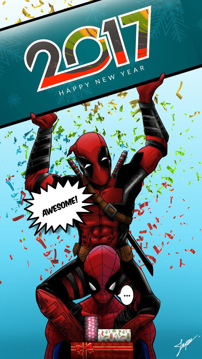 HAPPY NEW YEAR 2017 : Spidy and Deadpool by tontentotza