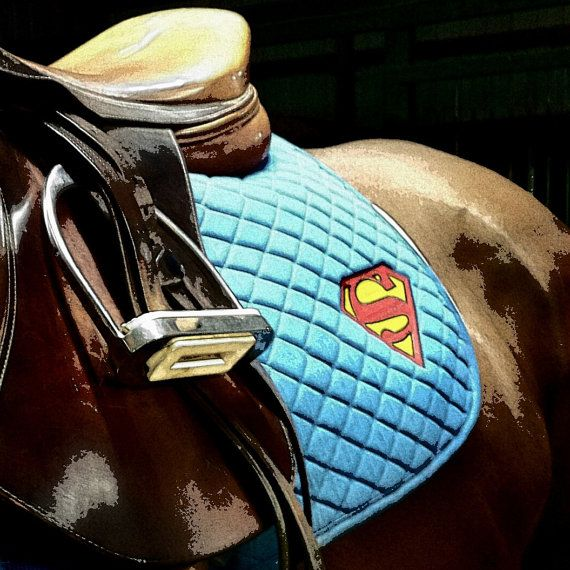 Superman Logo Embroidered Saddle Pad by TheHoundstoothHorse, $45.00