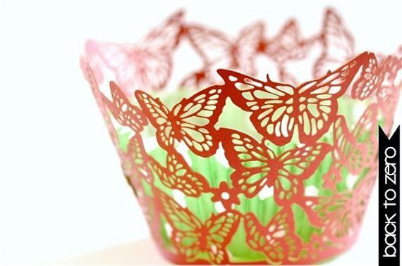20 Butterflies Laser Cut Cupcake Wrappers Wraps 15 by Backtozero