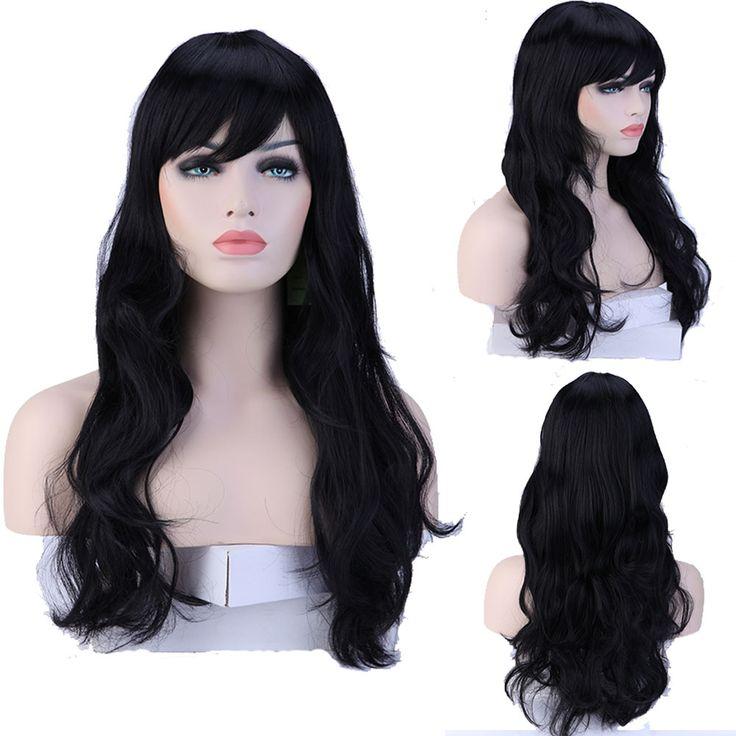 """Kobiety Dziewczyna 19 """"długo Kręcone Ciemny Czarny Pełna Peruki Żaroodporne Wig Włosów"""