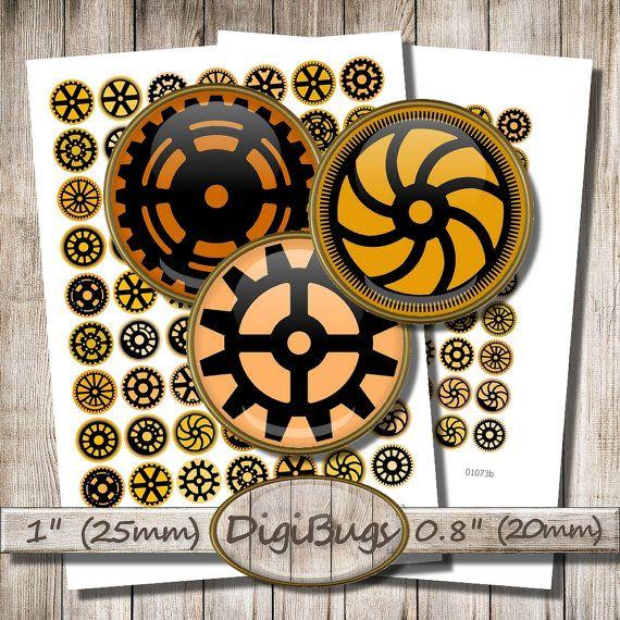 Digital Collage Sheet, Round Steampunk Images, Gear Silhouettes, Orange & Black, 20mm, 25mm Circles, Digital Download, Steampunk Inchies, c8