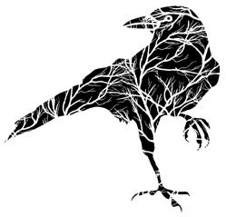 Raven with Tree Branches - love the silhouette concept. Think it looks more masculine - older man's birthday or father's day
