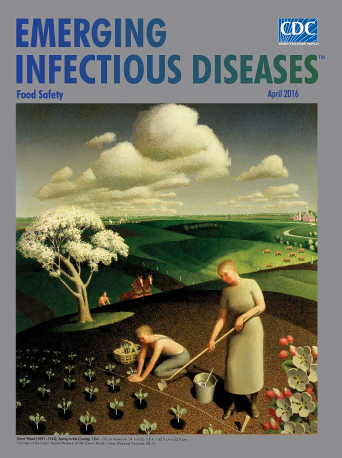 The April issue of EID online now with a food safety theme. Spring in the Country (1941) represents a slice of life from artist Grant Wood's upbringing in Iowa. The scene exemplifies an idealized American heartland. As agricultural practices evolved, farming became more specialized. More efficient food production elevated the risk and scope of foodborne disease. WHO estimates unsafe food results in two million deaths annually from more than 200 food-related diseases.