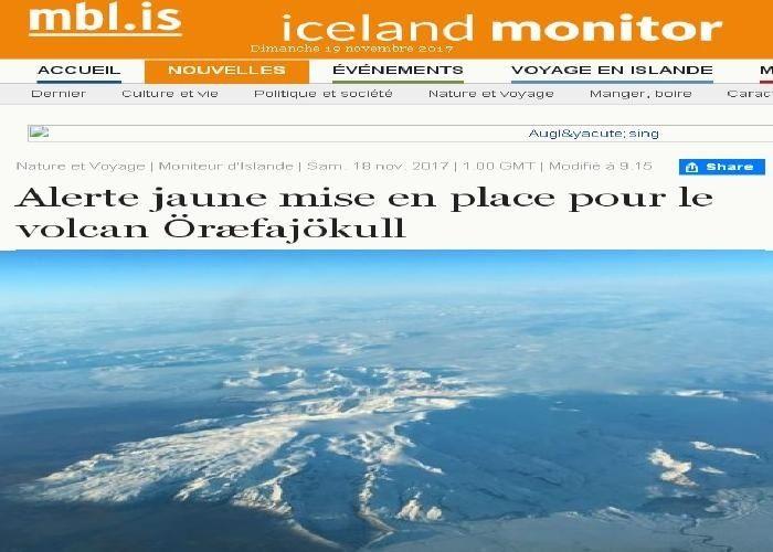 LE VOLCAN N'EST PAS ENTRE EN ERUPTION DEPUIS 1727. Une nouvelle caldeira, d'un diamètre d'un kilomètre, s'est formée cette semaine dans le glacier d'Öræfajökull, une caldeira repérée par les images satellites du glacier. Selon le Iceland Met Office, cette...