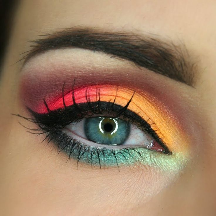 This look is a fab combination of bright tropical eyeshadow. Take this night out look on a spin with the products listed here.
