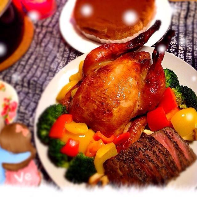 クリスマスなので! ローストチキン ローストビーフ(冷凍もの) サラダ 野菜たっぷりシチュー ティラミス (画像にはないけど卵焼き) 主人の好きなものを揃えました(*´∀`)❤️ - 13件のもぐもぐ - クリスマスディナー by syu