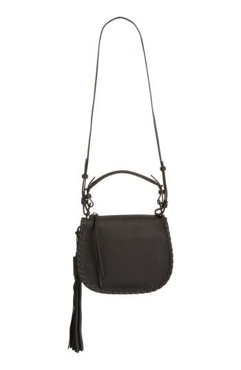 ALLSAINTS MORI LEATHER CROSSBODY BAG - BLACK. #allsaints #bags #shoulder bags #crossbody #suede #