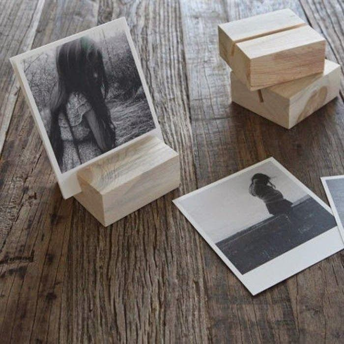 Poppytalk: 10 Beautiful DIYs for Your Home. Wood block photo holder.
