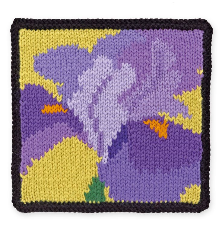 """Knit Floral Block: Iris (free charted pattern from the book """"75 Floral Blocks to Knit"""")"""