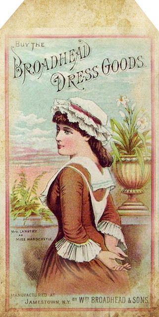 "1880's ""Broadhead Dress Goods"" advertisement tag"