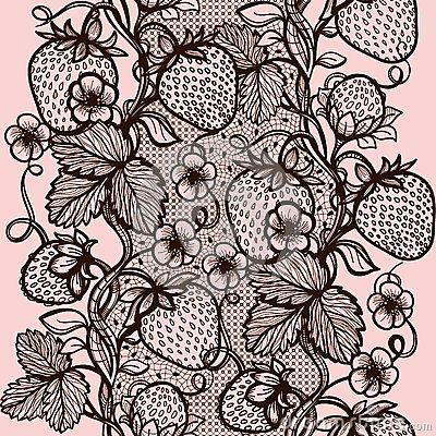 Modello senza cuciture astratto del pizzo con i fiori, le foglie e la fragola