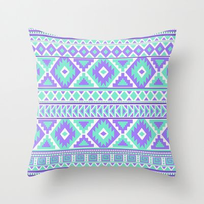 tribal art creation purple and mint throw pillow