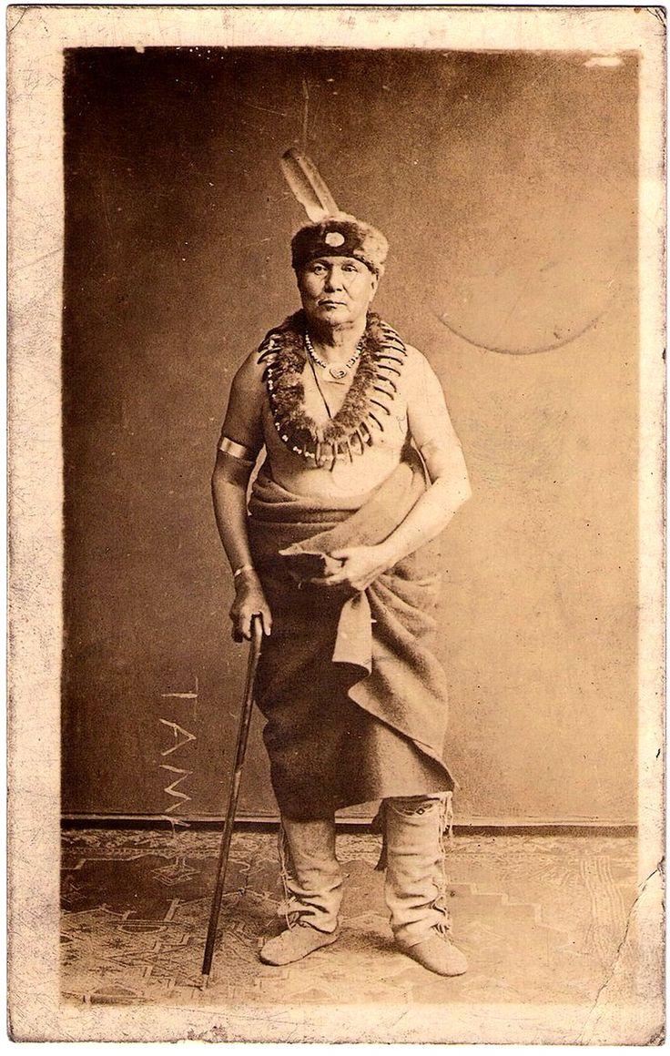 MESQUAKIE Indian, probably Chief Pushetonekaque, Tama, Iowa, early 1900. Real Photo Postcard edited by National Photography Company, Cedar Rapid, Iowa, c.1907-1920s