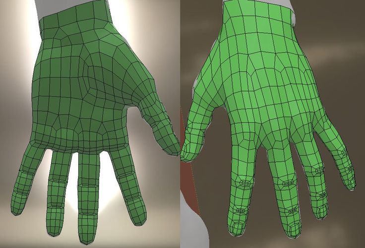 ArtStation - hand topology for animation, 3 FINGERS