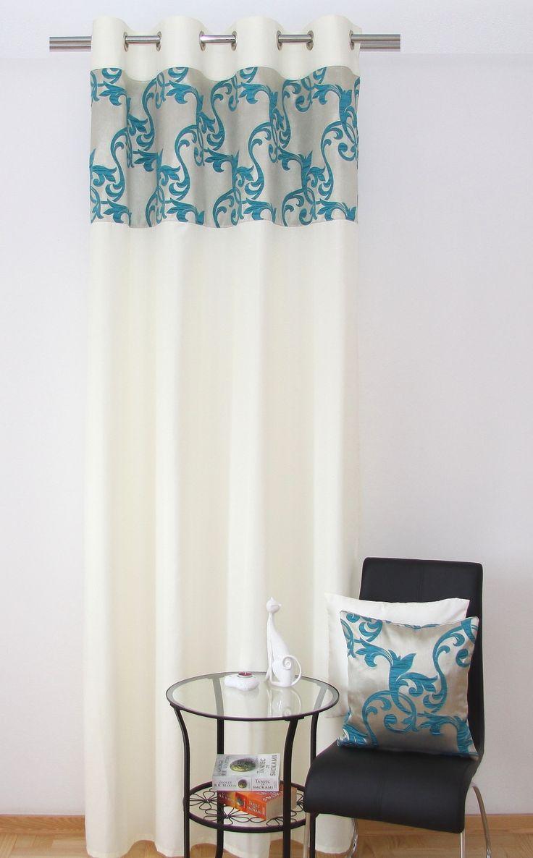 Zasłony kremowe gotowe z turkusowym ornamentem