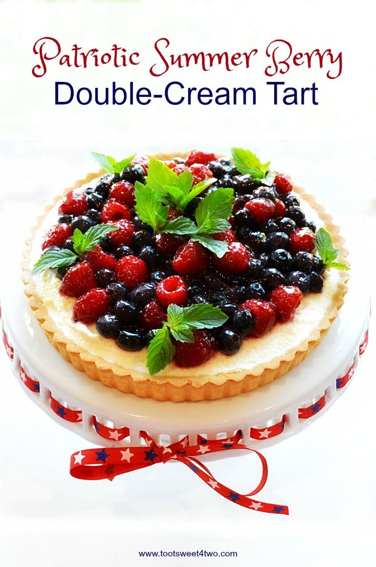 An easy, no-bake dessert, Patriotic Summer Berry Double-Cream Tart is ...
