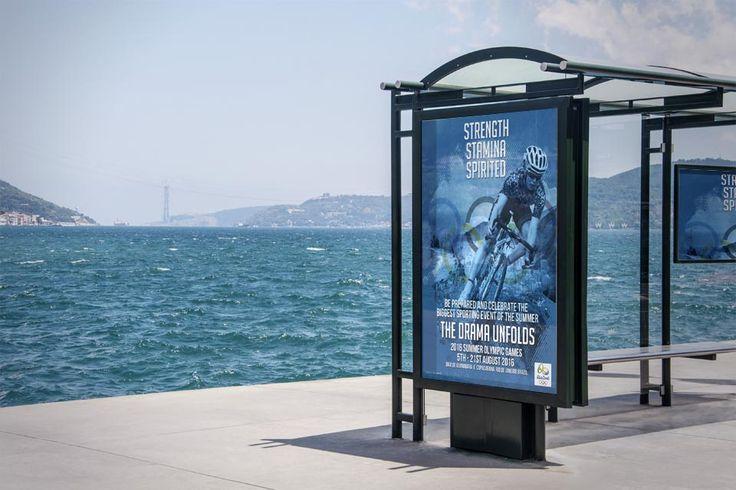 RIO 2016 - Bus stop advertising for the Summer Olympic Games in Rio de Janeiro, Brazil.