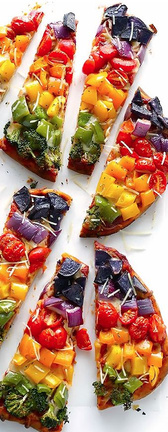 Rainbow Veggie Flatbread Pizza from Gimme Some Oven