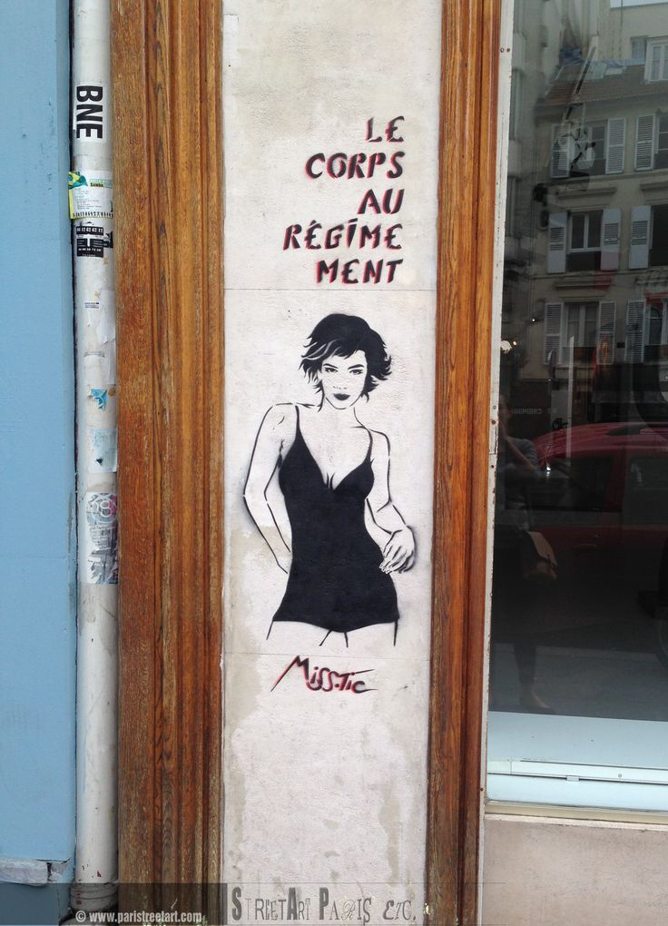 www.paristreetart...  #paris #misstic #streetart Miss.Tic is a poet also, which is not hard to figure out whilst reading all these maxims and sentences, which have either a double meaning, or are a word-play. Very often in a phonetic aspect as well.