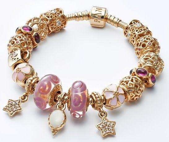 Pandora - gold with pink