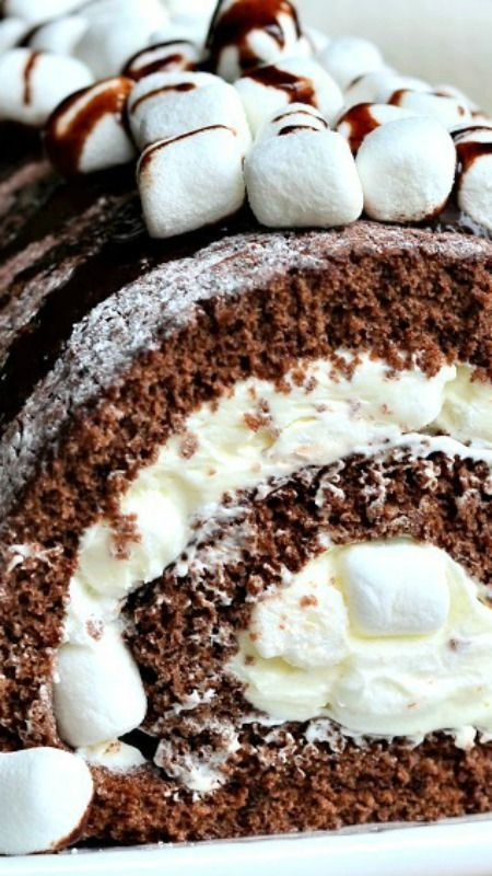 Hot Chocolate Cake Roll ~ Soft chocolate cake roll filled with light ...