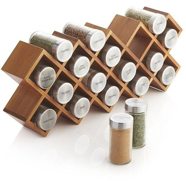 Crate & Barrel 18-Jar Acacia Wood Spice Rack (170 BRL) ❤ liked on Polyvore featuring home, kitchen & dining, food storage containers, herb jar, crate and barrel spice rack, spice rack, salt jar and crate and barrel jars