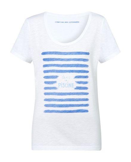 T-Shirt mit Aufdruck ''Dans la piscine''  ALAPISCINE - Farbe BLANC/MAJORELLE