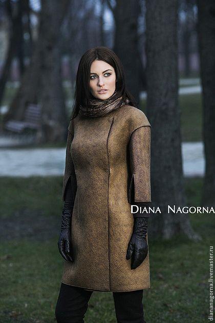 Верхняя одежда ручной работы. Пальто войлочное. Диана Нагорная. Интернет-магазин Ярмарка Мастеров. Однотонный, пальто из шерсти