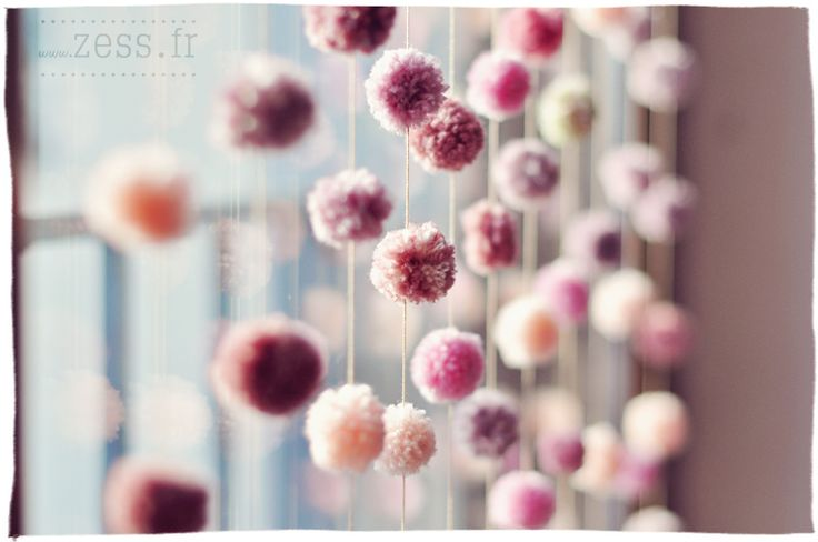 DIY pompom curtain
