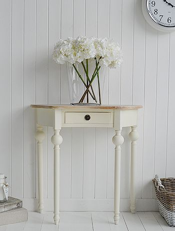 Cream Cottage half moon small hall table with drawer. Ideas in country cottage home decorating and furnishing - www.thewhitecottagecompany.com