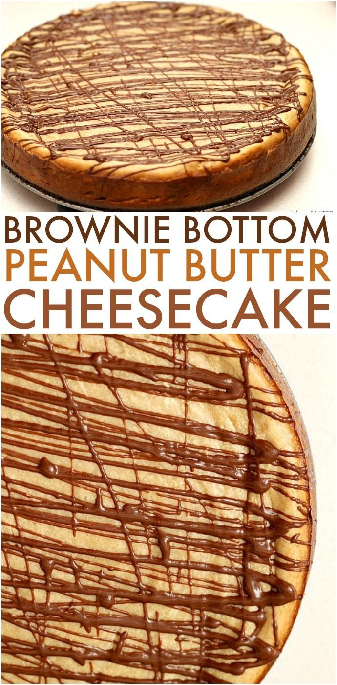 Brownie Bottom Peanut Butter Cheesecake - a layer of brownie topped with a creamy peanut butter cheesecake and drizzled with chocolate. A chocolate + peanut butter lovers dream! | www.persnicketyplates.com