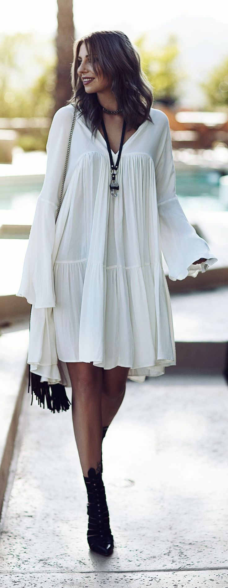 White Hippie Boho Inspiration Dress. For more followwww.pinterest.com/ninayayand stay positively #pinspired #pinspire @ninayay
