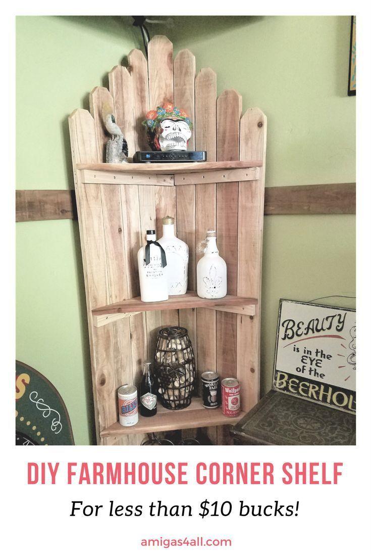 Easy DIY Farmhouse corner shelf. Rustic corner shelf, corner shelf, diy corner shelf, farmhouse decor, farmhouse ideas, bar decor, bar ideas, man cave, game night decor