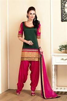 Show details for Gorgeous green & pink color patiala suit