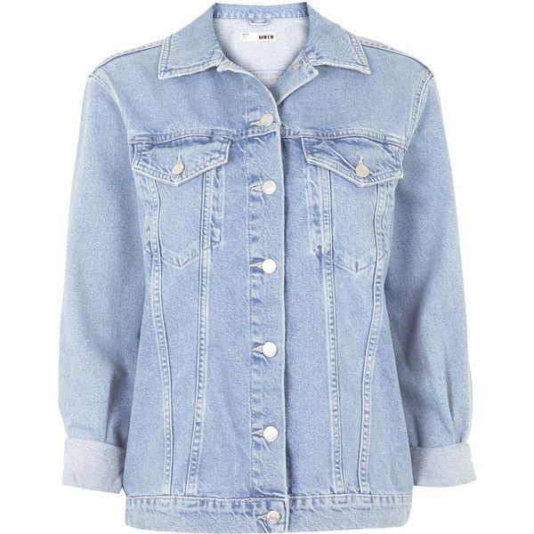TOPSHOP MOTO Oversized Western Jacket found on Polyvore featuring outerwear, jackets, tops, coats, denim jacket, mid stone, cowboy denim jacket, western jacket, blue jackets и oversized jean jacket