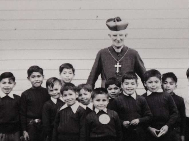 A photo of First Nations children at the St. Mary's Residential school (near Mission, B.C.) (date unknown)