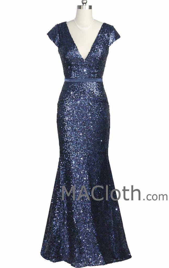 Mermaid Cap Sleeves V Neck Long Sequin Dark Navy Evening Gown Formal Dress