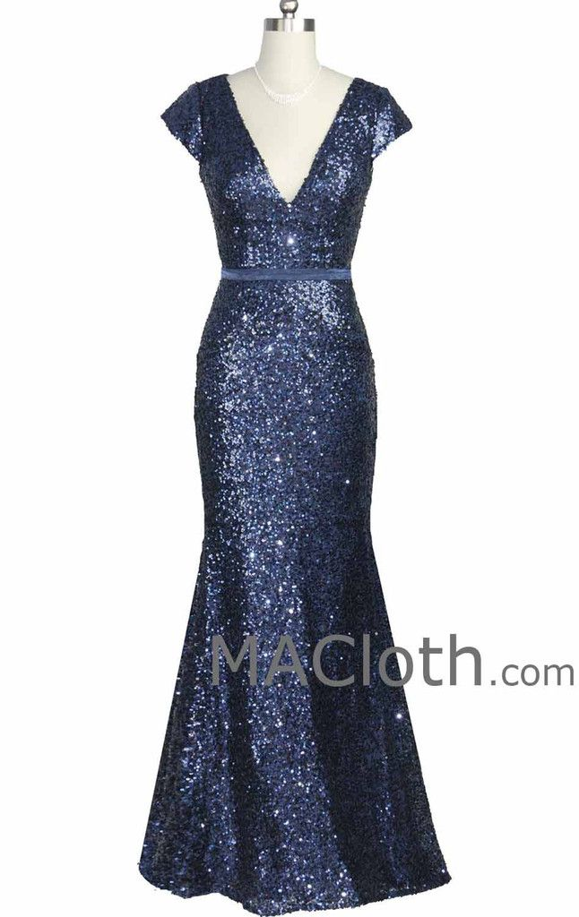 Mermaid Cap Sleeves V Neck Long Sequin Dark Navy Evening Gown Formal Dress
