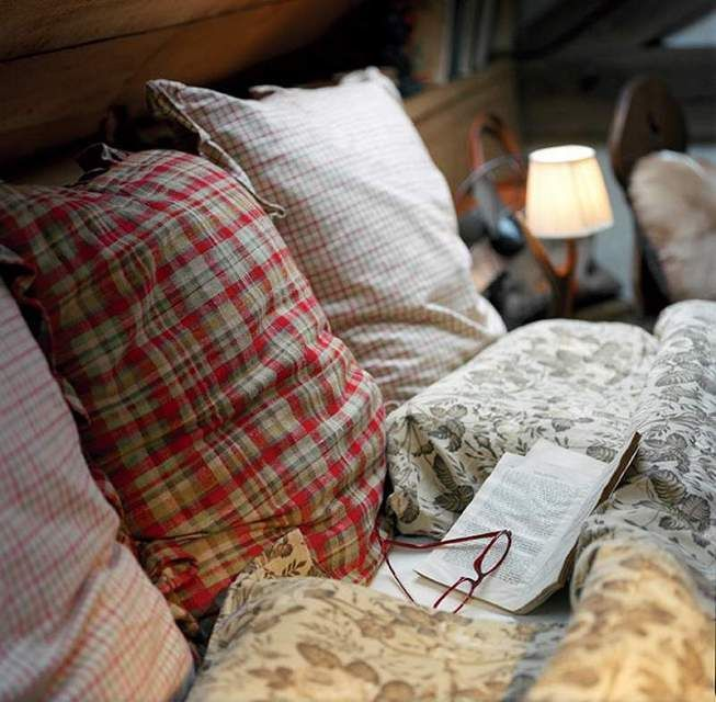 Lovely mix of cozy fabrics, plaid and floral - Woodsy and rustic - Reading in an unmade bed